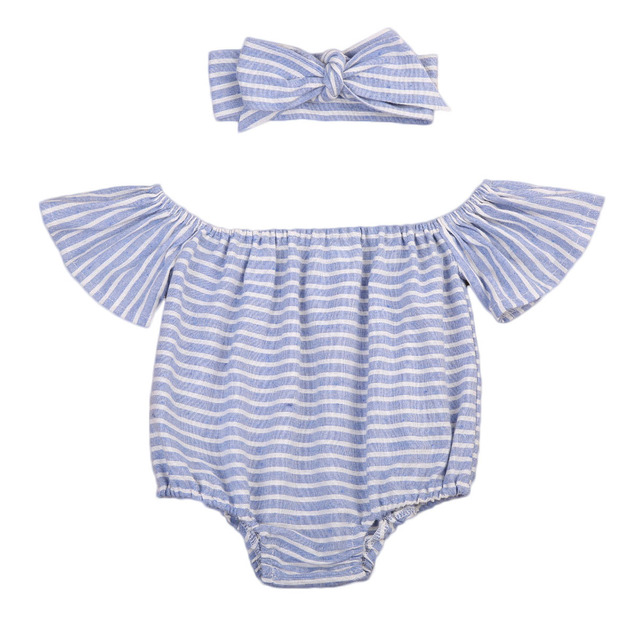 af7db0e21087 Newborn Baby Girls Striped Ruffles Sleeve Bodysuit Jumpsuit Headband Outfit  Clothes
