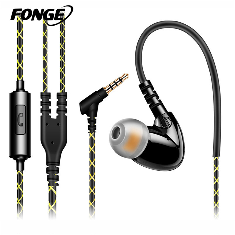 Fonge Sport Earphones New style Earbuds Headphones Stereo Super Bass Wired Headset With MIC for All Mobile Phones MP3 MP4 qkz c6 sport earphone running earphones waterproof mobile headset with microphone stereo mp3 earhook w1 for mp3 smart phones
