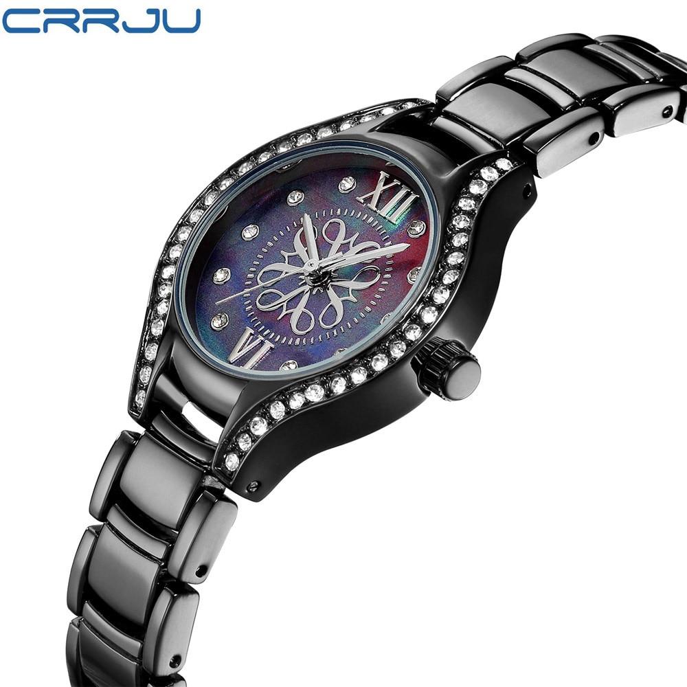 CRRJU Women Crystal Diamond Black Dial Fashion Watches Silm Greek Numerals Luxury Fashion Ladies WristWatches Brand Female Clock