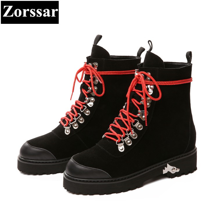 {Zorssar} 2017 NEW fashion lace up flat heel short boots Cow suede womens ankle Motorcycle Boots autumn winter women shoes flats front lace up casual ankle boots autumn vintage brown new booties flat genuine leather suede shoes round toe fall female fashion
