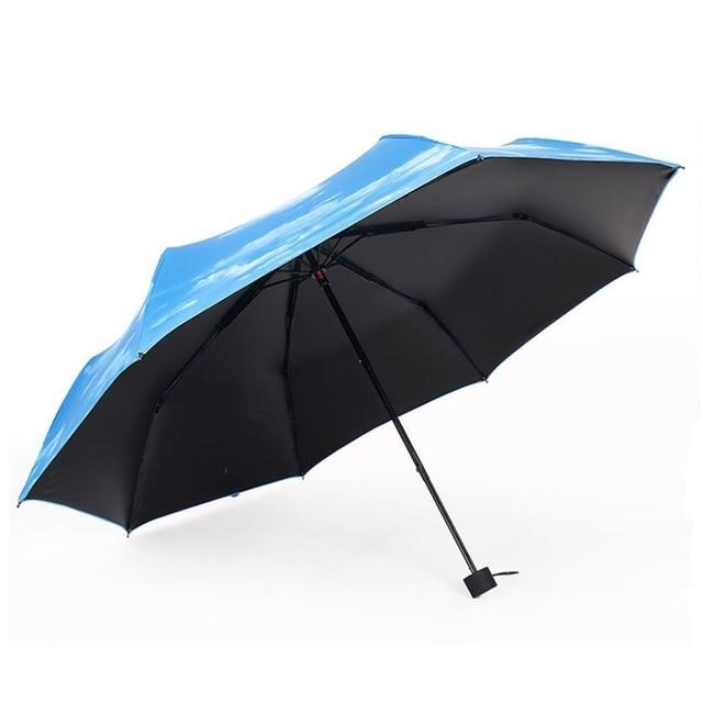 2017 High Quality Anti-UV  Blue Sky and White Cloud Sun/Rain 3 Folding Waterproof Umbrella Black Coating for Sun Umbrella