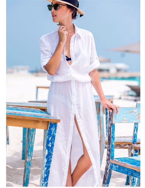 923d8f9c03137 Unique fashion pure summer beach dress brand new long sleeve chiffon swim  cover up high quality long swim suit cover up