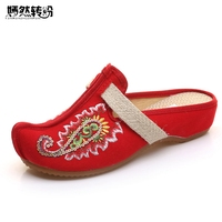 Vintage Embroidery Women Slippers Shoes Thailand Linen Chassis Flowers Embroidered Old BeiJing Sandals Slippers Big Size
