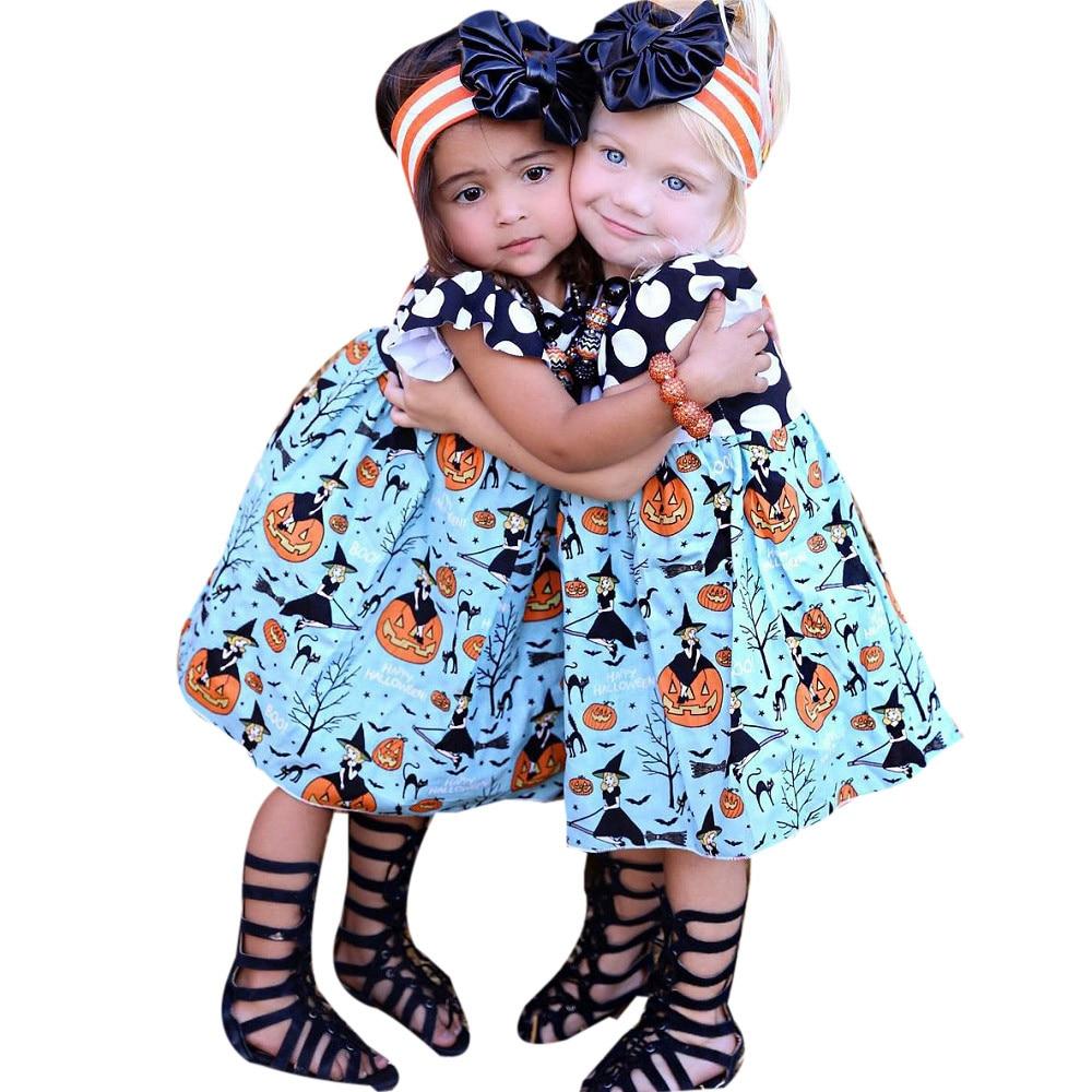 CHAMSGEND 2017 New Toddler Kids Baby Girls Halloween Pumpkin Cartoon Princess Dress Outfits Clothes Sep6 Dropship