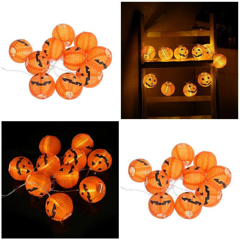 Halloween Pumpkin 10 LED Lights String Bulb Holiday Light Outdoor Garden Holiday Decor -- JDH99