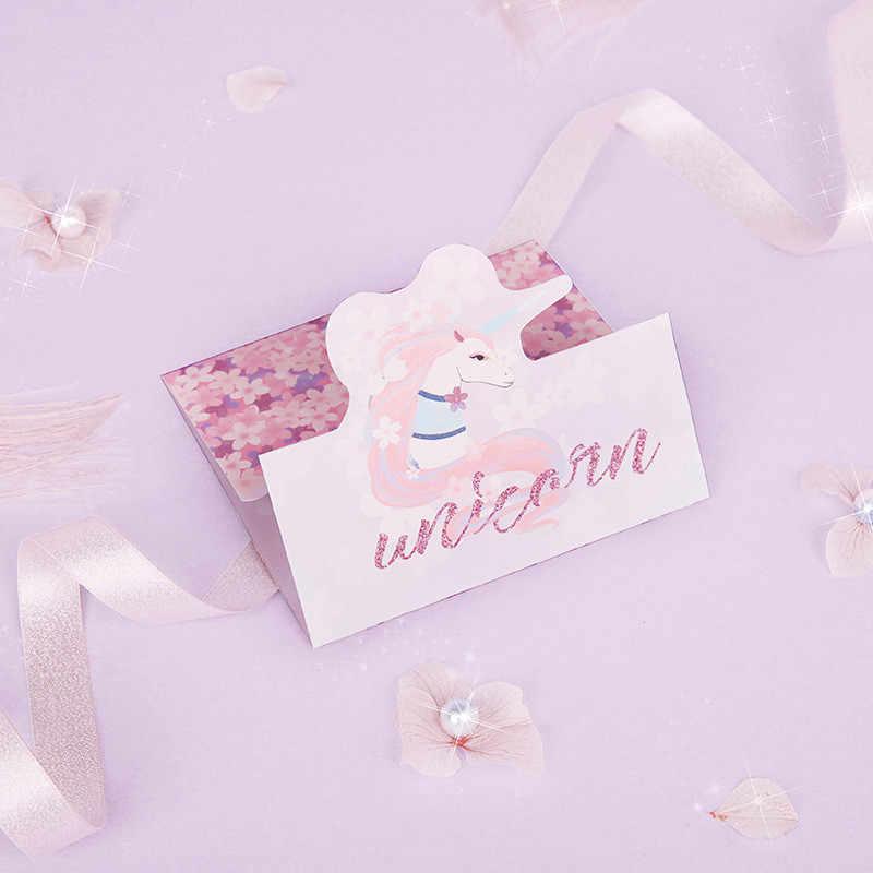 2 комплекта Фламинго Единорог Бумага карты на день рождения Свадебная вечеринка