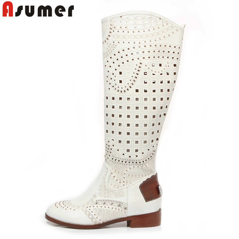 ASUMER women's summer knee high boots square heels cut outs hollow flats spring summer gladiator women boots rivets lady shoes-in Knee-High Boots from Shoes    1