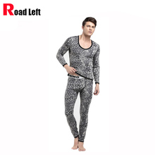 5 Colors Size M/L/XL Leopard Velvet Thicken Warm Mens Thermal Underwear Set Cotton Top+Long Johns Men Leggings Pants Sleepwear