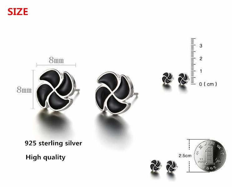100% 925 sterling zilver lucky flower black gem ladies'stud oorbellen sieraden vrouwen verjaardagscadeau Anti allergie drop schip