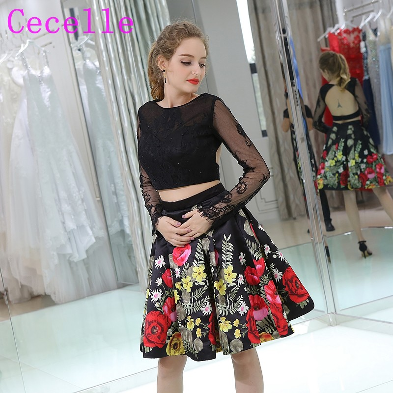 72900f77fc4 2 Pieces Floral Print Colorful Short Cocktail Dress With Long Sleeves Lace  Top Sexy Open Back Two Pieces Informal Party Dress-in Cocktail Dresses from  ...