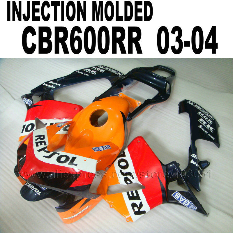 ABS Injection bodywork for Honda repsol fairing kits cbr600 2003 2004 CBR 600 RR 03 04 CBR600RR orange red fairings sets