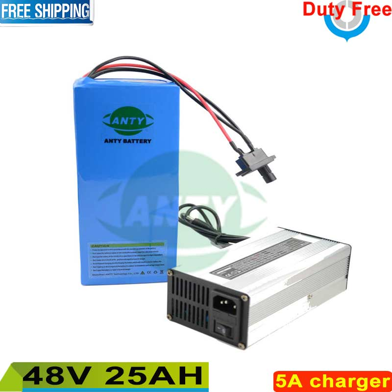 Free shipping / Duty 48v Battery 25ah Electric Bicycle Battery 1000w motorcycle  lithium battery Pack 48v with 5A charger , BMS