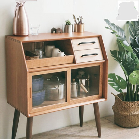 Kitchen Cabinets Kitchen Furniture Home Furniture Solid Wood Side Cabinet Door Base Cabinets Glass Storage Cabinet 80*42*98cm