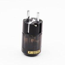 1 pair X Hifi audio Brass P 004E +puer copper C 004   Rhodium Plated EU Schuko AC Power Plug  extension adapter