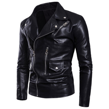 2018 New Men's Locomotive Multi-zip Men's Leather jacket Europe and America Men's Black PU Leather jacket Size M-3XL 4XL 5XL