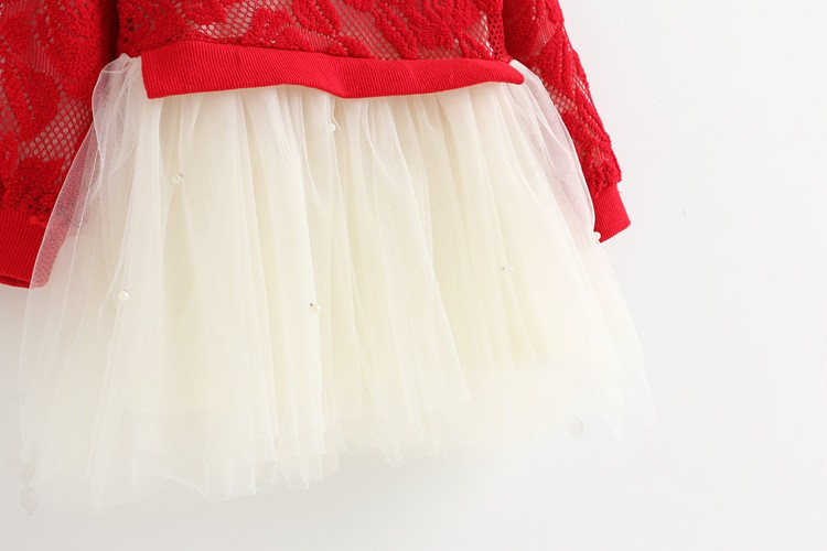 autumn clothes girl dresses for 1 year birthday lace flower baby dress lace tutu dress newborn red tutu dress infantil vestidos