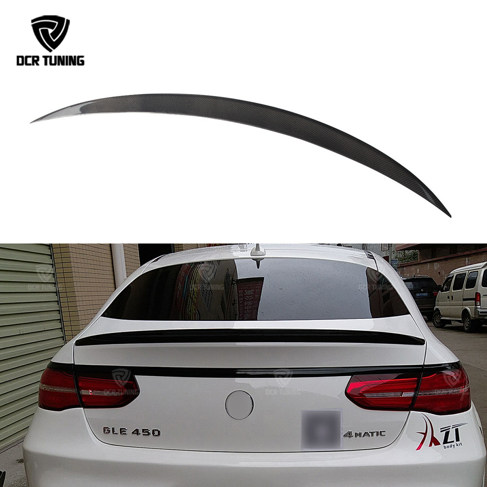 For Mercedes gle coupe Spoiler Benz gle class carbon fiber rear trunk spoiler W166 GLE63 AMG GLE 300 400 spoiler 2015 2016 2017 for mercedes benz cla class w117 cla180 cla200 cla250 cla45 amg carbon fiber front lip splitter flap canard fits sporty car amg