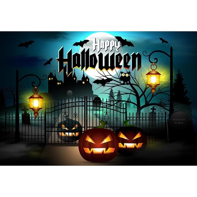 Halloween Theme Photography Background Pumpkin Black Palace Bat With