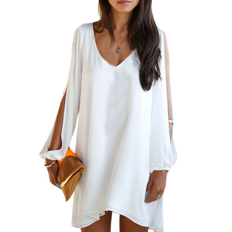 1pc batwing female party club sexy loose top v neck plus Women s long sleeve shirt dress