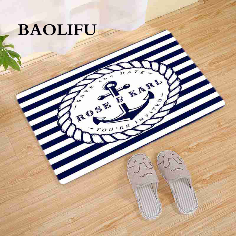 BAOLIFU Vintage Retro Nautical Anchor Rug Turquoise Bathroom Carpet Kitchen Floor Mat Wood Anchor Print Doormat Home Deco E018 image