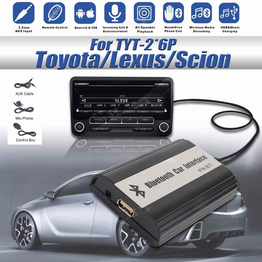 Mayitr High Quality 1 Set Car Bluetooth Kits Hands Free Stereo USB AUX Adapter Interface for Toyota 2*6 with Accessories