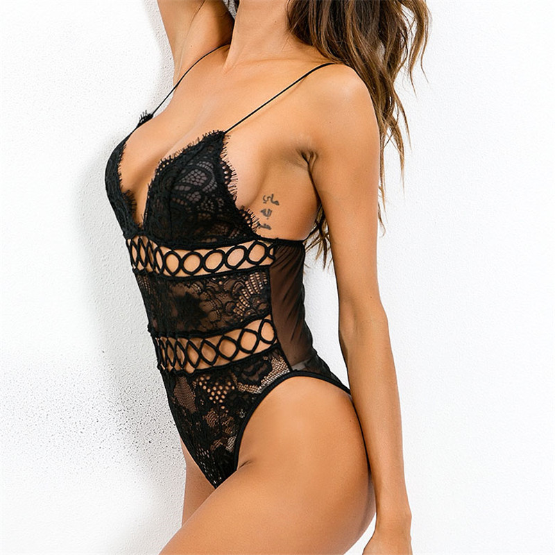 Bodysuits Hollow Out Overalls Skinny Bodysuits Club Women Rompers Fashion Black White Lace Bodysuit Sexy Bodycon Body Top Feminino M0041