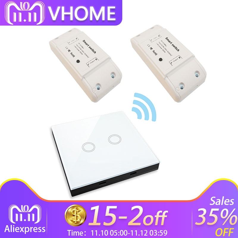 VHome táctil interruptor de control remoto inalámbrico de RF 433 MHz de receptor de alimentación DC supply170v-250v 5A transmisor controlador