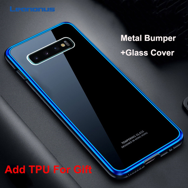 Leanonus 9H Tempered Glass Cover Case for Samsung Galaxy S10/S10 Plus/S9/S9 Plus/Note 9 Coque Hard Metal Bumper Phone Case
