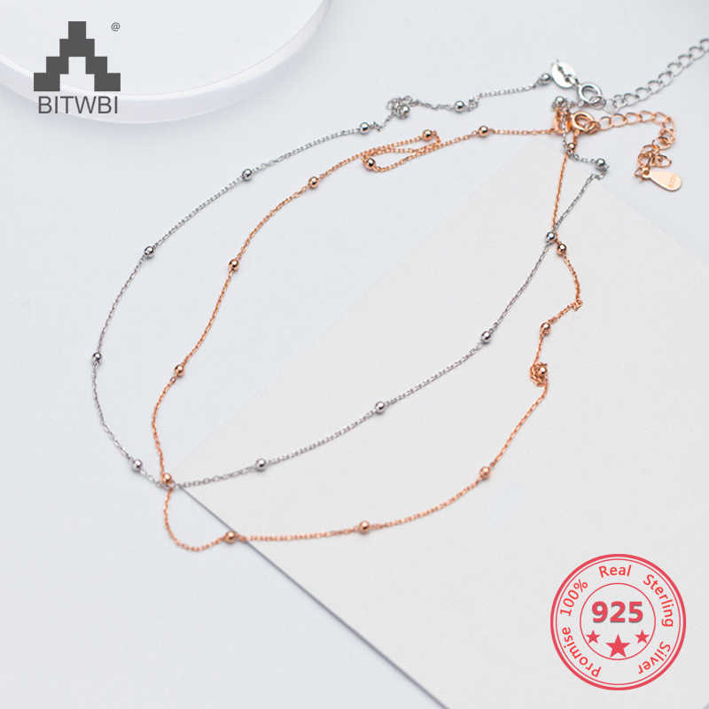 S925 silver necklace female simple fashion necklace chain beads summer clavicle chain gift