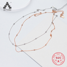 S925 silver necklace female simple fashion necklace chain beads summer clavicle chain gift цена