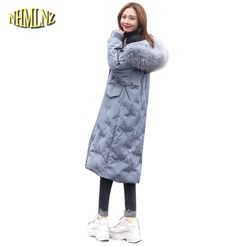 Down     Coats   Women 2019 New Style Slim   Coats   Hooded Warm   Coats   Smoky Blue   Down   Jacket Female Winter Long Outwear QA3
