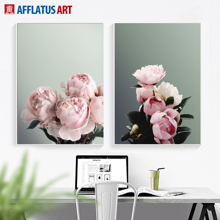 AFFLATUS Modern Classic Pink Peony Canvas Painting Wall Art Posters And Prints Flower Picture For Living Room Home Decor