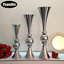 PEANDIM 10pcs/lot Floor Flower Vase Mariage Table Centerpiece Metal Flower Vase Stands For Home Wedding Decoration 1piece lot centerpiece lighting remote controlled 8inch spot led light base for centerpiece table vase shisha hookah decor