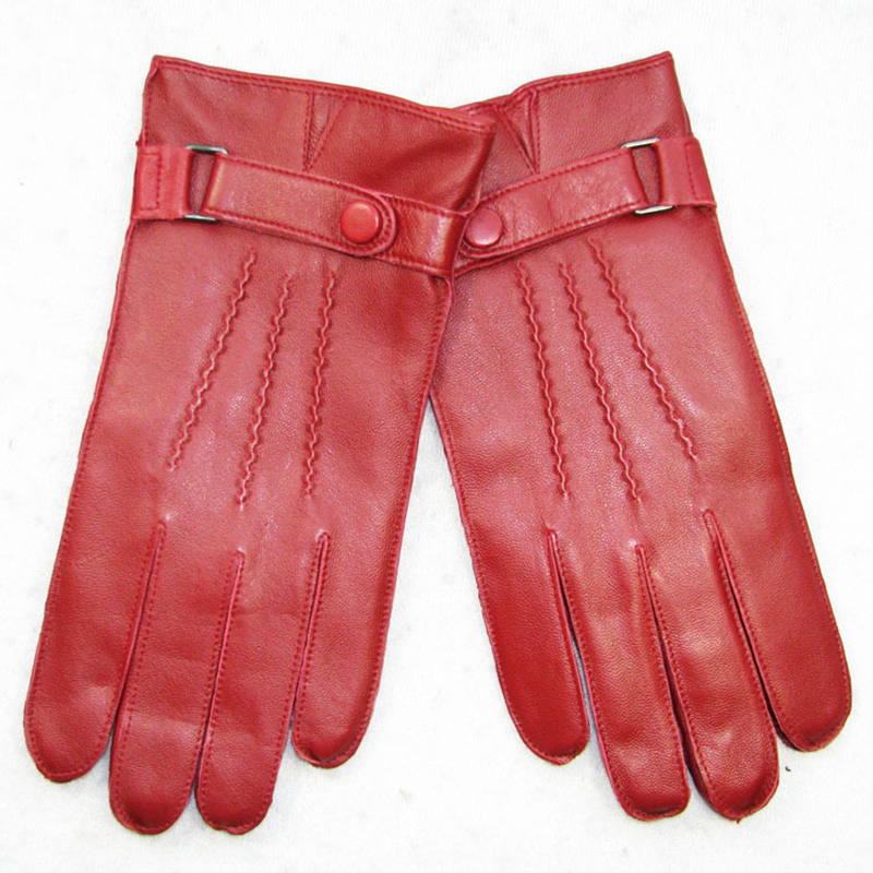 Genuine Leather Gloves Male Fashion Simple Sheepskin Gloves Man Red Winter Plus Velvet Thicken Keep Warm For Driving DQ203