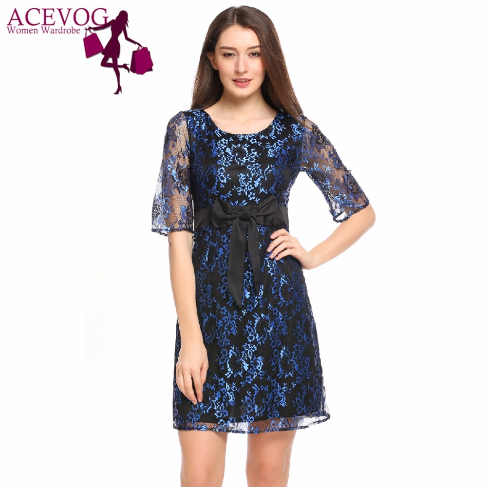 f263b6d072 ACEVOG Women Lace Dress Summer Floral Print Vintage O-Neck Prom Bow  Cocktail Party Slim