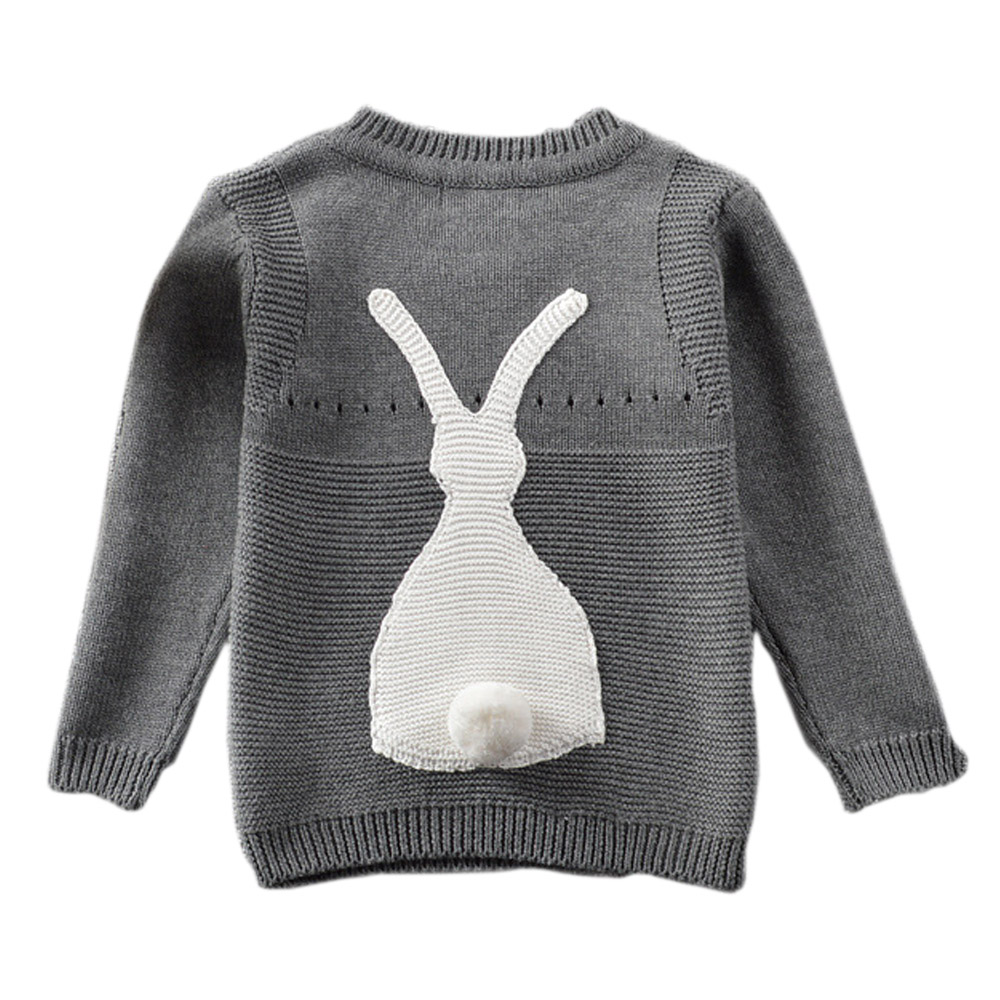 QUIKGROW Cute White & Charcoal Cartoon Rabbit Long Sleeve Baby Pullover Knitted Sweater Infant Girl Boy Ribbed Warm Tops YM09MY