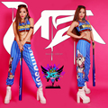 Женщины джаз танец женское певица того же пункта синий бары комикс граффити брюки костюм костюмы одежда комплект