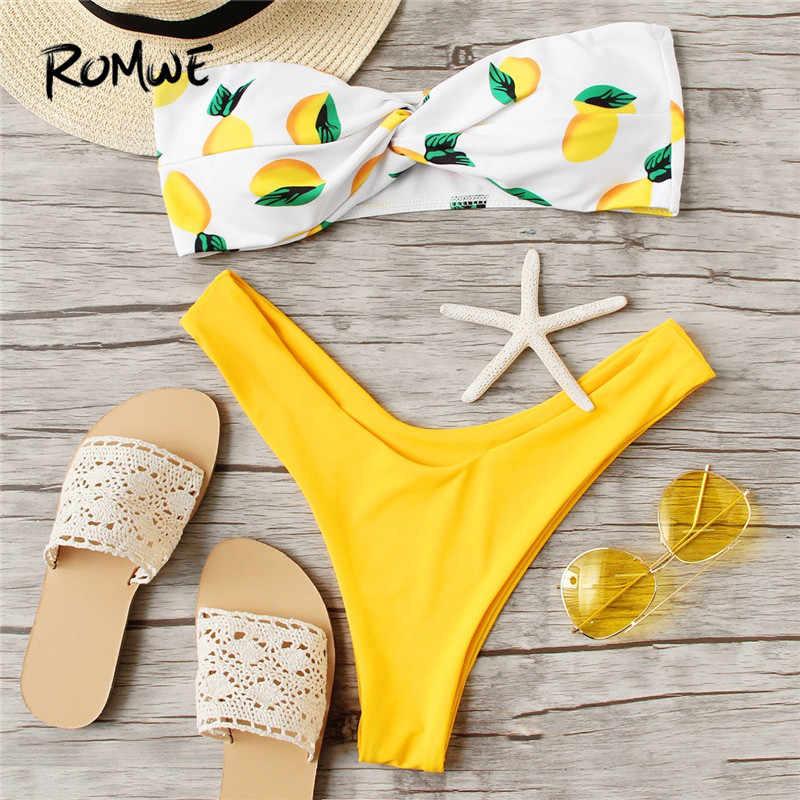ff4d409cf21a0 Romwe Sport Fruit Print Twist Knot Front Bandeau Hot Sexy Bikini Set  Swimwear Women Bikinis Feminino