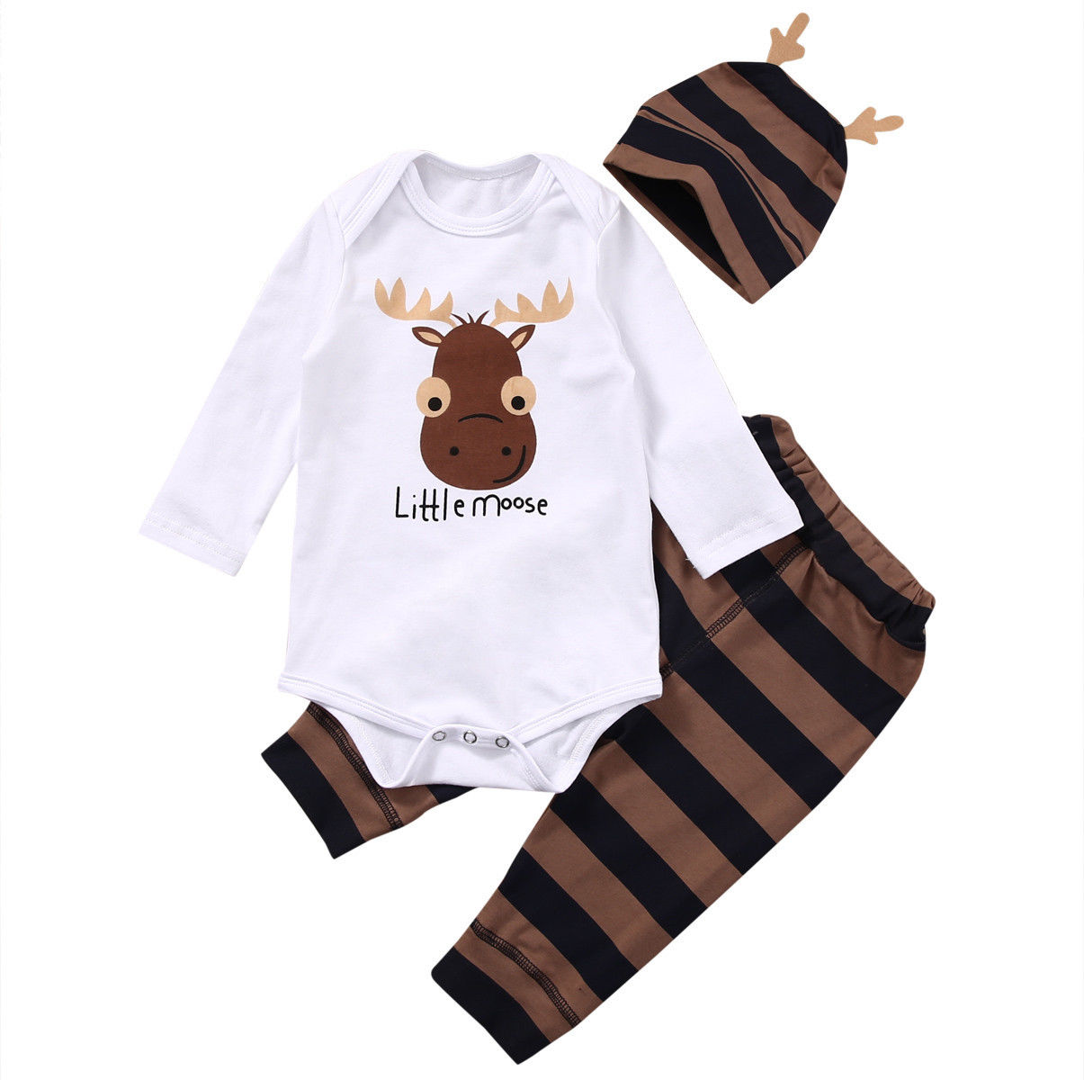 Ingenious 3pcs Baby Set Baby Girl Boy Clothes Autumn Long Sleeve Deer Letter Baby Bodysuit+long Striped Pants+hat Cotton Baby Clothes Set Sale Price