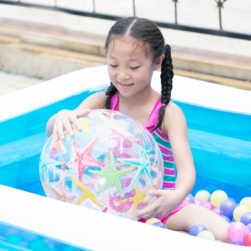 baby child pvc inflatable beach ball outdoor colorful transparent swimming pool ball toy summer water sport play pit ball B38003