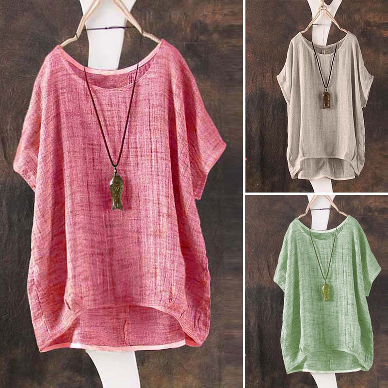 S-4XL Womens Chinese Cotton Linen Coat Short Sleeves Shirt Cardigan Loose Tops Plus Size Summer 4Colors Plus Size