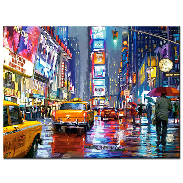 Full 5D Night Street Round Homlif Hobby Decoration Embroidery Diamond Painting Landscape ...