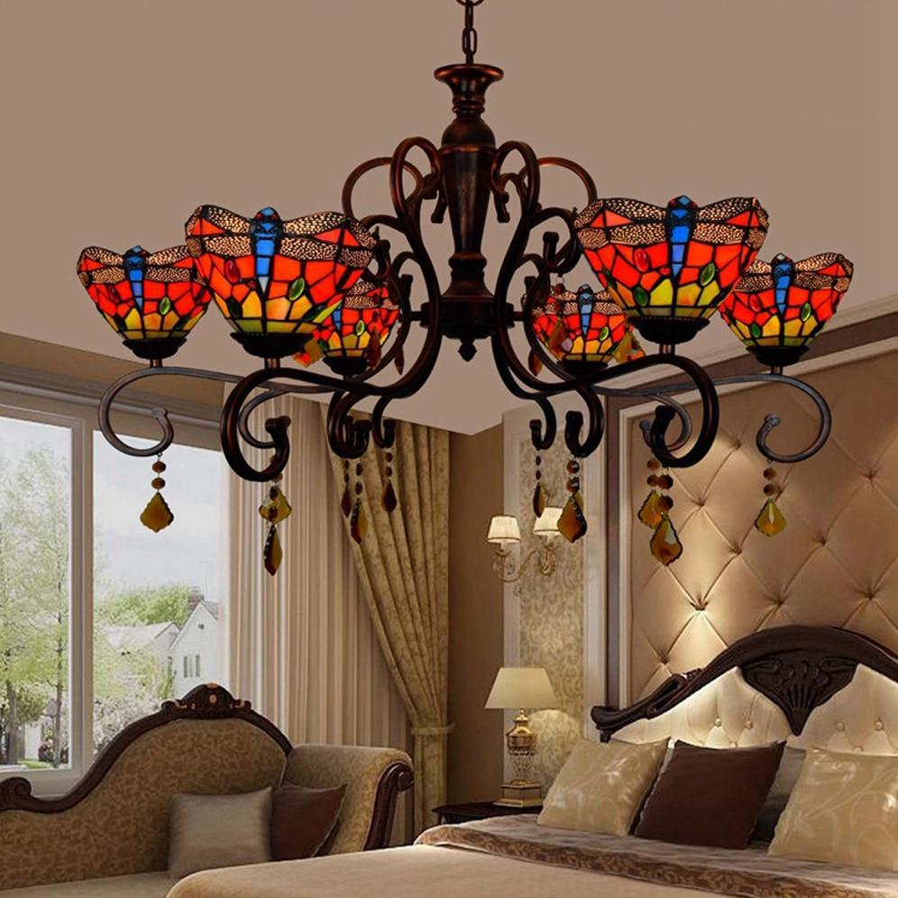 led e27 Tiffany Glass Alloy Červená LED lampa LED Light.Pendant Light.Pendant Lamp.Pendant Light Pro Jídelna Foyer