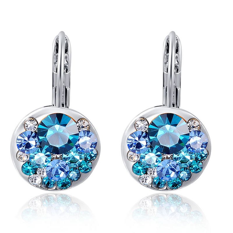 Cubic Zirconia Stud Earring Rose Gold Blue Round Crystal Earrings For Woman Wedding Engagement Female Jewelry bijoux brincos Z3