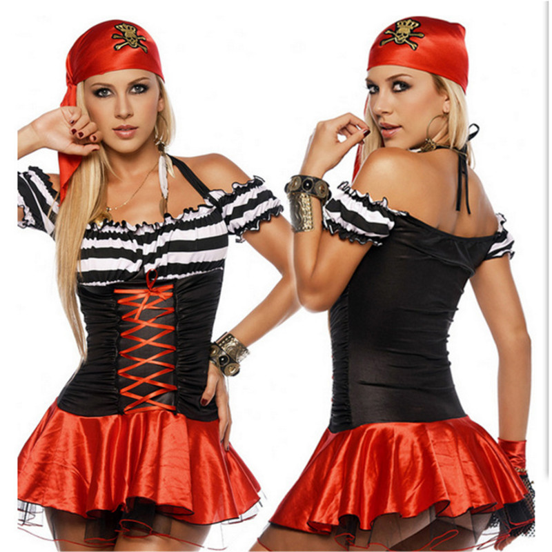 Sexy red Pirate Costume Halloween High Qualit Adult Women Red Sexy Matador Pirate Captain Cosplay Costume With Hat