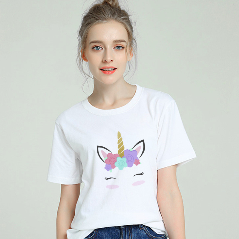 Unicorn Eyelash Harajuku T shirt Women Cotton 2019 Summer T-shirt Female Short Sleeve Plus Size White Tshirt Tumblr Tops & Tees Price $11.89