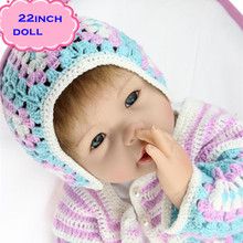 Real Looking Kids Play Doll Brinquedos NPK Silicone Reborn Baby Dolls About 22inch/55cm Cute Doll Baby Born As The Best Gifts