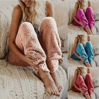 Womens Knitted Casual Soft Sleep Lounge Pants Loose Fluffy Fuzzy Pajama Pants