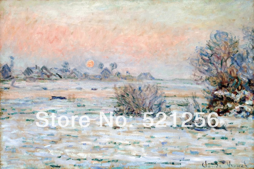 Free shipping wall art home decoration famous canvas prints printed painting pictures Claude Monet - Winter Sun Lavacourt