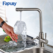 Fapully 3 Way Sink Brass Kitchen Faucet with Filtered Water Nickel Brushed Mixer Tap Dual Handles Cold and Hot Faucets 175-33N
